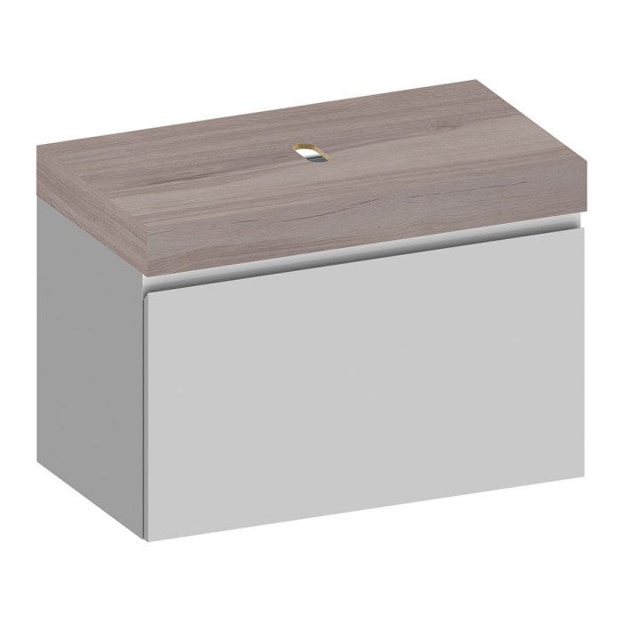 Kokoon Elements 90cm matte white cabinet with HPL rovere wafer top. Luxe by Design Australia