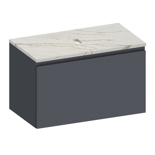 Kokoon Elements 90cm matte graphite cabinet with Vena d'oro stone top. Luxe by Design Australia
