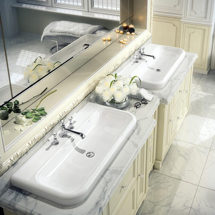 Victoria + Albert Lario 100 Solo recess mounted stone washbasin - distributed in Australia by Luxe by Design, Brisbane.