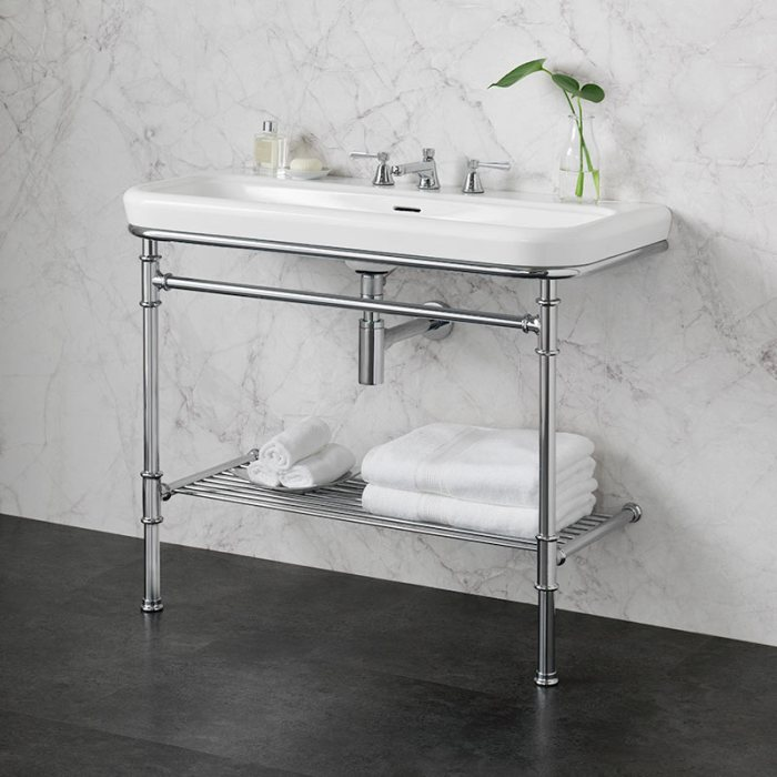 Victoria + Albert Metallo 100 washstand. Metal frame, porcelain top style bathroom vanity. Distributed by Luxe by Design Australia.