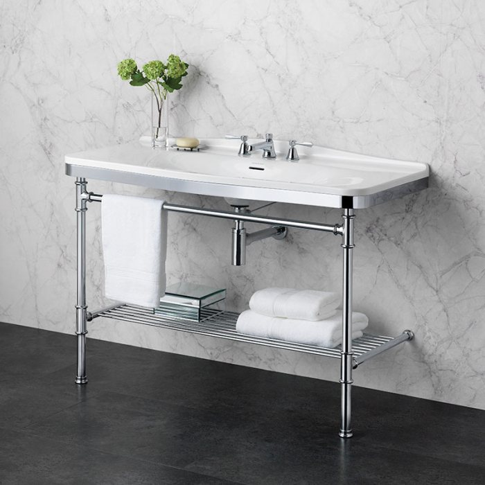 Victoria + Albert Metallo 114 washstand. Metal frame, porcelain top style bathroom vanity. Distributed by Luxe by Design Australia.