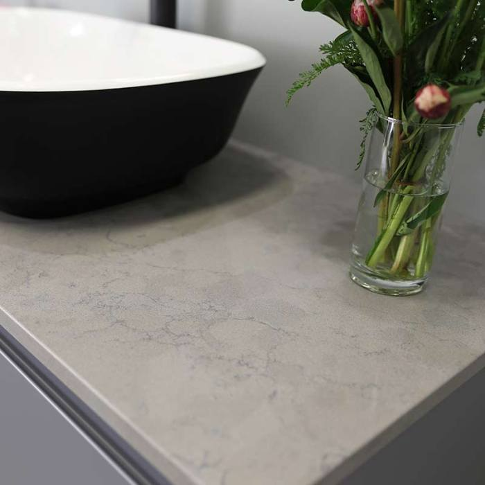Kokoon Elements 120cm matte graphite cabinet with Fumo concrete stone top. Luxe by Design Australia