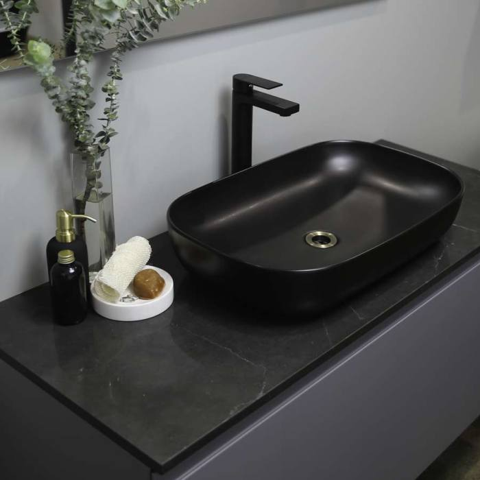 Kokoon Elements 120cm matte graphite cabinet with Tempesta stone top. Luxe by Design Australia