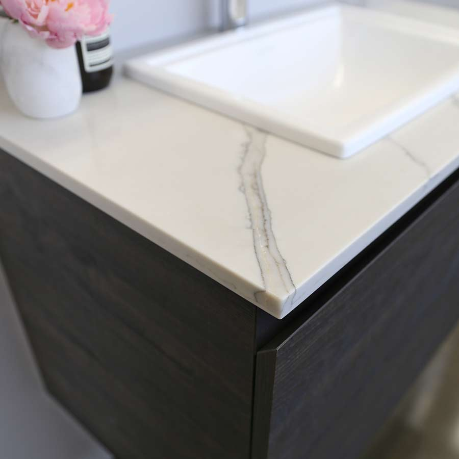 Kokoon Elements 140cm rovere sherwood scuro cabinet with Vena d'oro stone top. Luxe by Design Australia