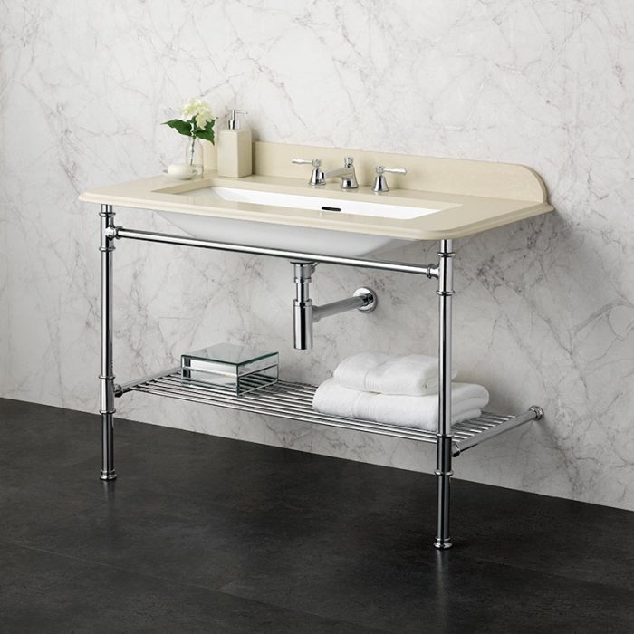 Victoria + Albert Metallo 113 biscuit quartz washstand. Metal frame, stone or marble top bathroom vanity. Distributed by Luxe by Design Australia.
