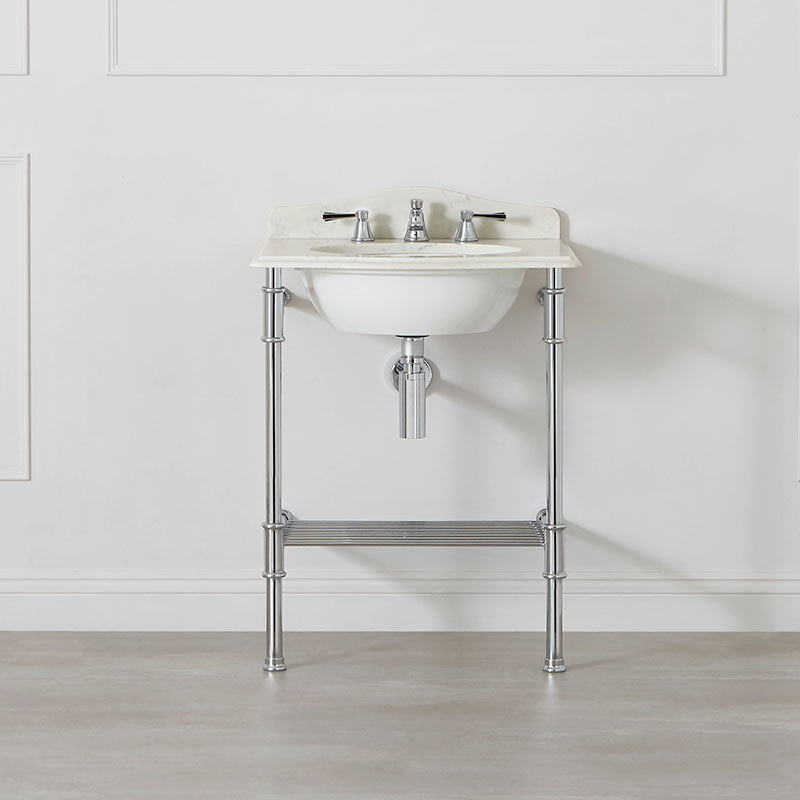Victoria + Albert Metallo 61 white quartz washstand. Metal frame, stone or marble top bathroom vanity. Distributed by Luxe by Design Australia.