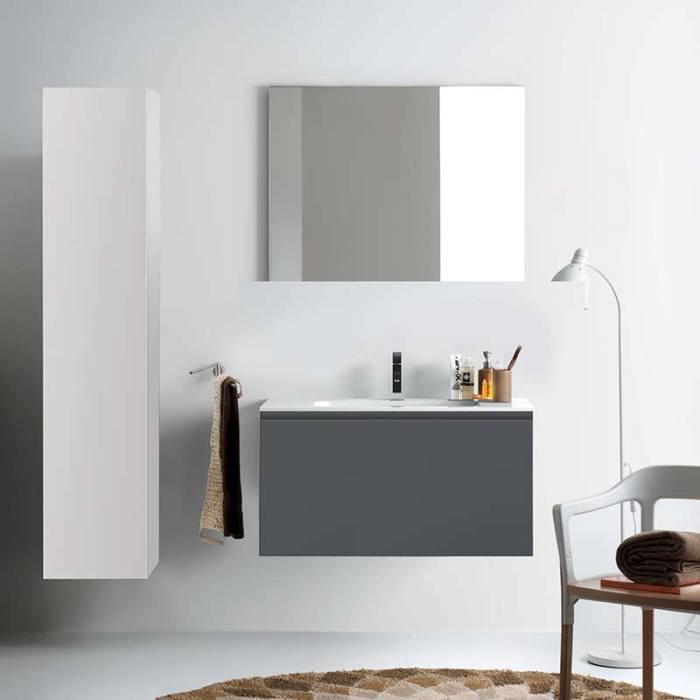 Kokoon Quantum matte white cabinet with smooth white Mineralmarmo integrated washbasin top. Luxe by Design Australia, Italian bathroom vanities and furniture, Brisbane.