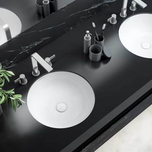 Victoria + Albert Kaali 48 undermount basin. Recessed stone basin, distributed in Australia by Luxe by Design, Brisbane.