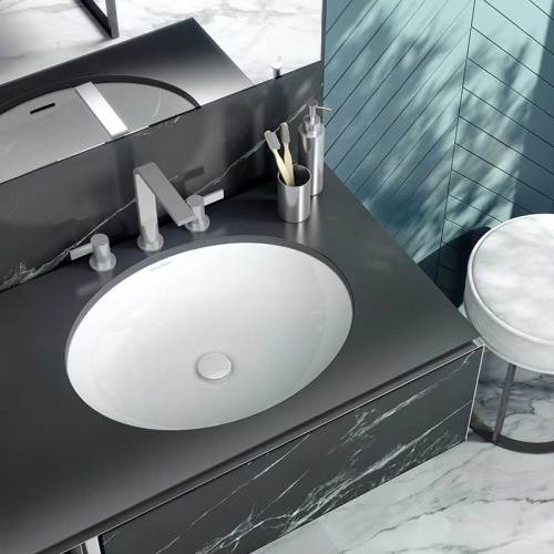 Victoria + Albert Kaali 60 undermount basin. Recessed stone basin, distributed in Australia by Luxe by Design, Brisbane.