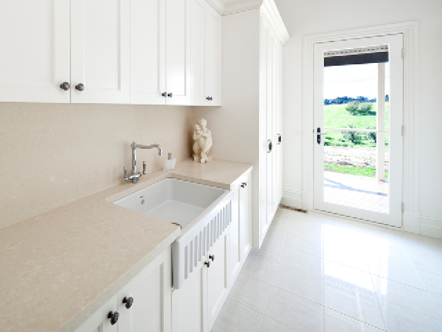 Shaws Bowland 800 Sink. 800mm fluted front fireclay butler sink by Shaws of Darwen, England. Imported and distributed in Australia by Luxe by Design, Brisbane.