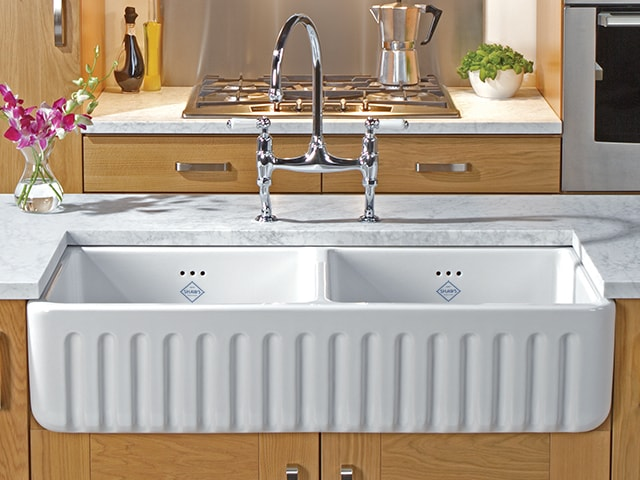 Shaws Ribchester 800 Sink. Dual bowl 800mm ribbed front fireclay farmhouse butler sink by Shaws of Darwen, England. Imported and distributed in Australia by Luxe by Design, Brisbane.