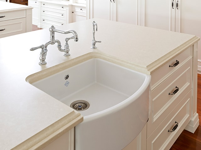 Shaws Waterside Sink. 600mm single bowl bow front fireclay butler sink by Shaws of Darwen, England. Imported and distributed in Australia by Luxe by Design, Brisbane.