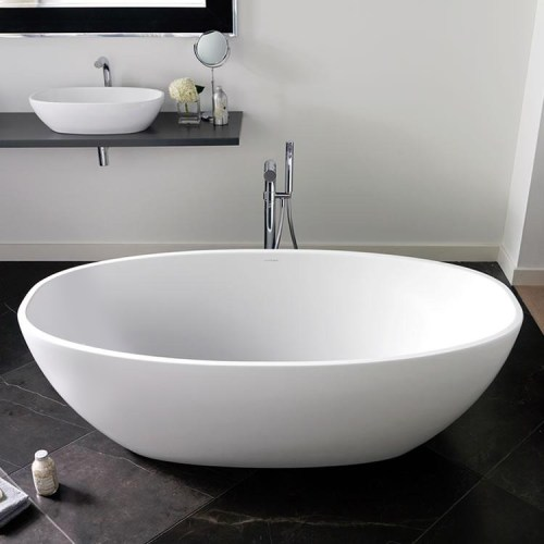 Victoria + Albert Barcelona 2 matte white stone oval bath, distributed in Australia by Luxe by Design, Brisbane.