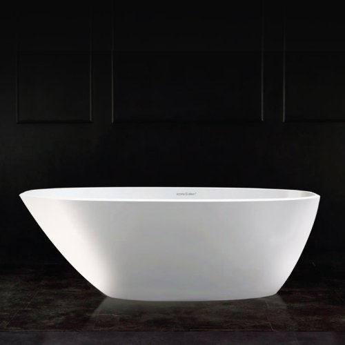 Victoria + Albert Mozzano 2 matte white stone angled bath, distributed in Australia by Luxe by Design, Brisbane.