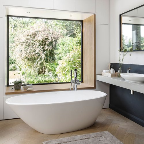 Victoria + Albert Mozzano matte white stone angled bath, distributed in Australia by Luxe by Design, Brisbane.