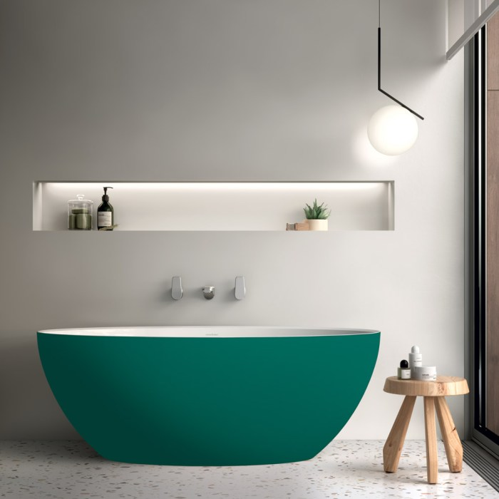 Victoria + Albert Corvara matte painted stone 1500mm bath, distributed in Australia by Luxe by Design, Brisbane.