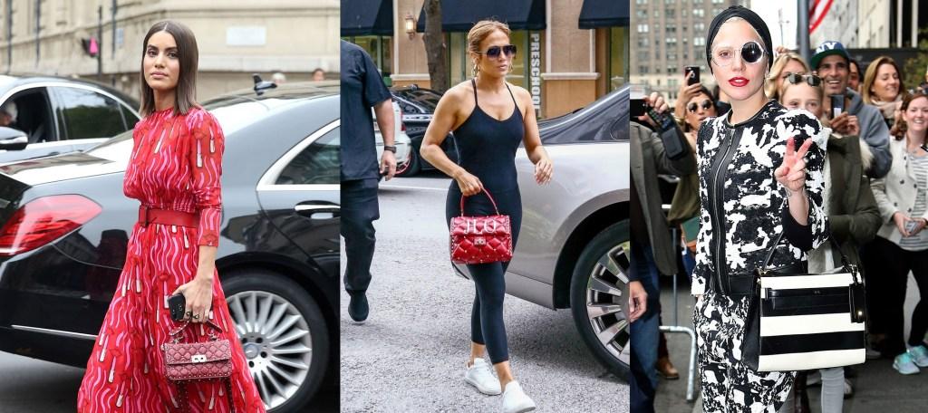 Celebrities with Valentino Rockstud Handbags