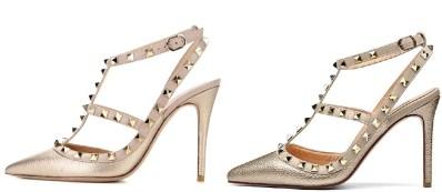 Valentino Rockstud Gold Heels Dupes