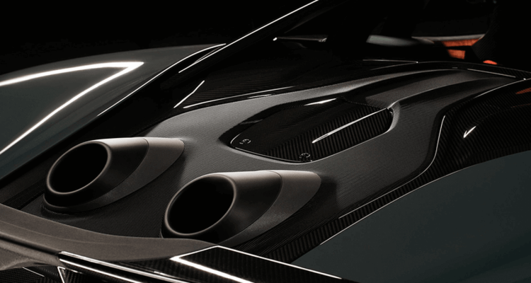 McLaren Supercar with an unusual exhaust bursts out the flame