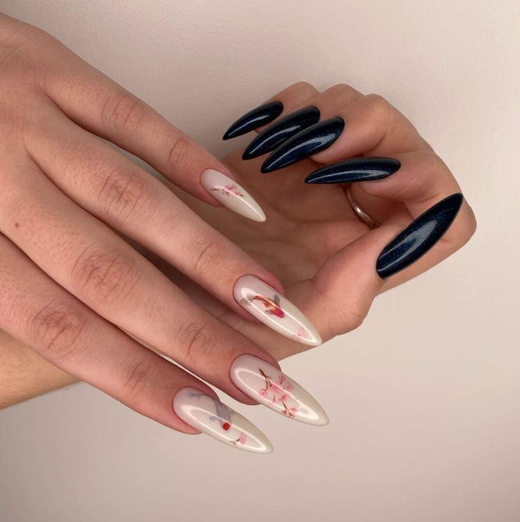 White and black manicure