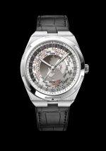 World Time Overseas cadran gris7700V-110A-B129bracelet cuir