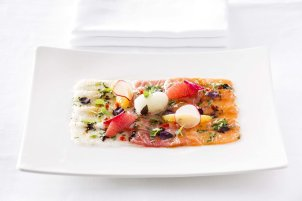 ceviche-trilogy-with-sea-bass-salmon-and-tuna-yuzu-sorbet-and-thyme-honey