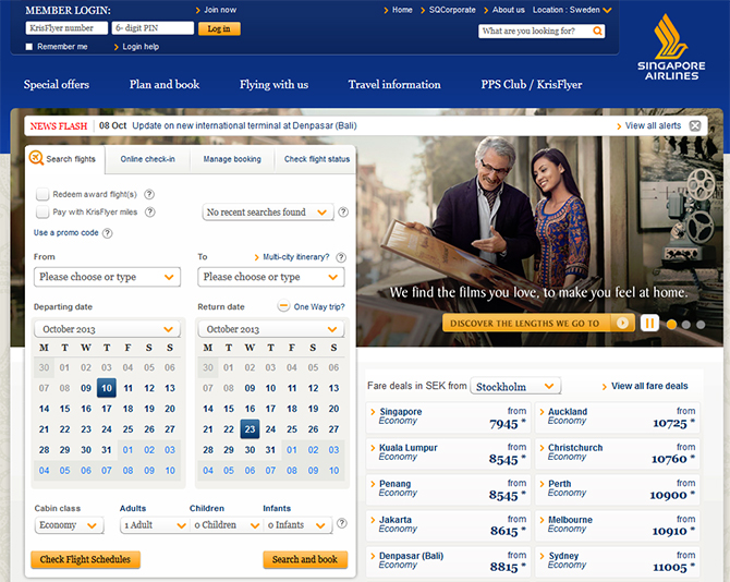 Singapore Airlines  Website