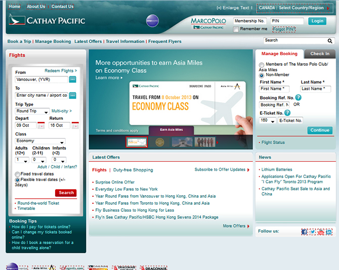 Cathay Pacific  Website