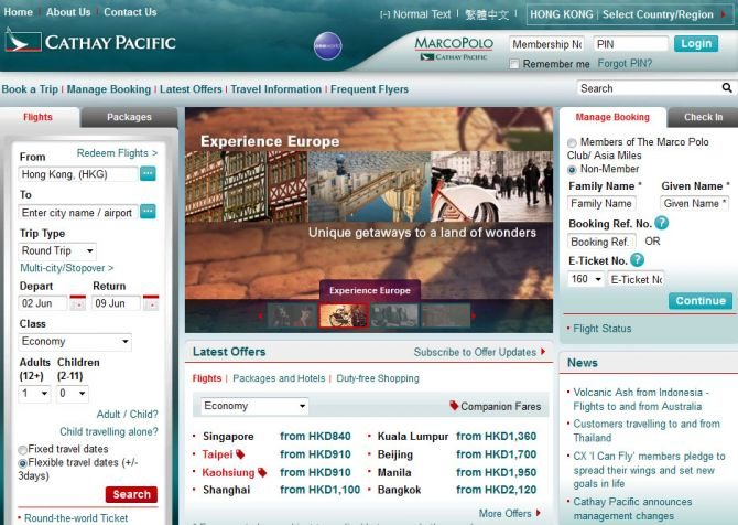 Cathay Pacific Top Ten Airlines for Business Travel