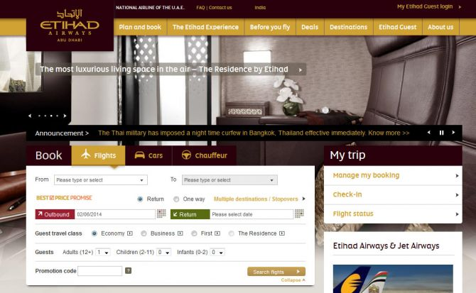 Etihad Airways Top Ten Airlines for Business Travel