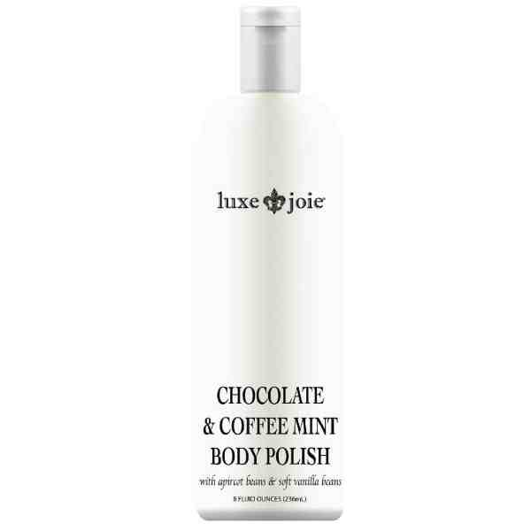 chocolate and coffee mint body polish on white background