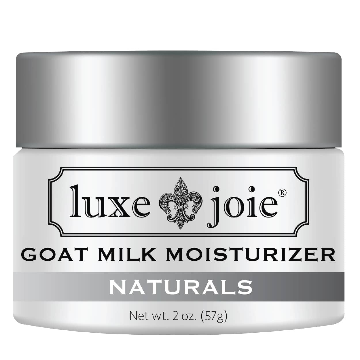 goat milk moisturizer on white background