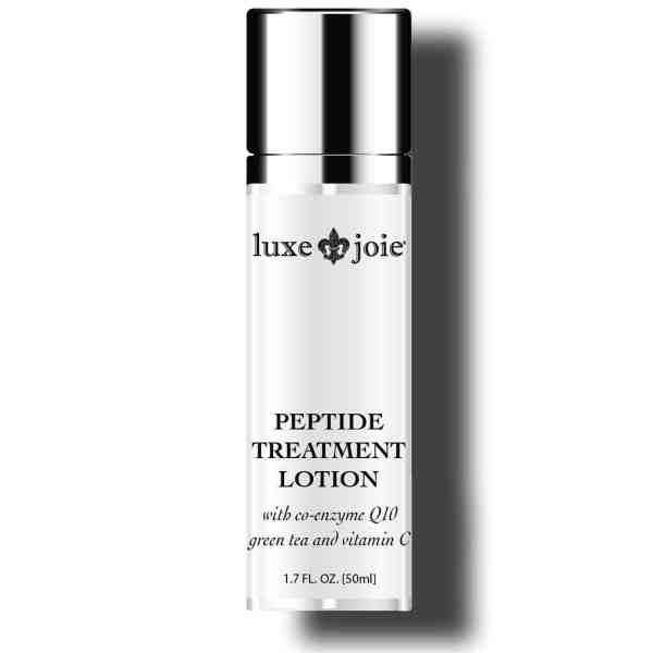 peptide treatment lotion on white background