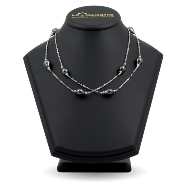 Ожерелье-бусы из морского жемчуга Таити на цепочке из золота