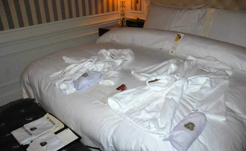 The bed had toddler and child-sized robes and slippers and personal notes awaiting.