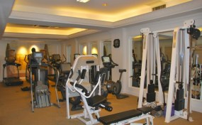 The lower level fitness center