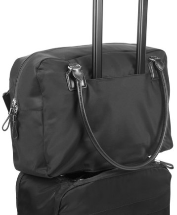 Tumi's brilliant feature is a bottomless pocket to slide all carry ons over the handle of your wheeled suitcases.