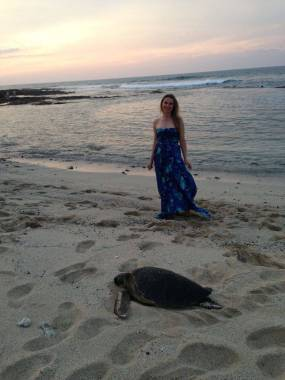 Turtles are a common site on the beach. I was told this one outweighs me by 50 lbs but am not convinced.