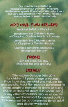 A children's inclusive dining plan.