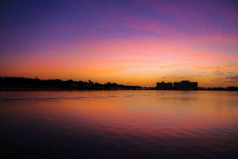 Early risers are rewarded with spectacular sunrises looking towards the Contemporary Resort