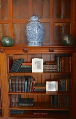The library with some of the family's original books.