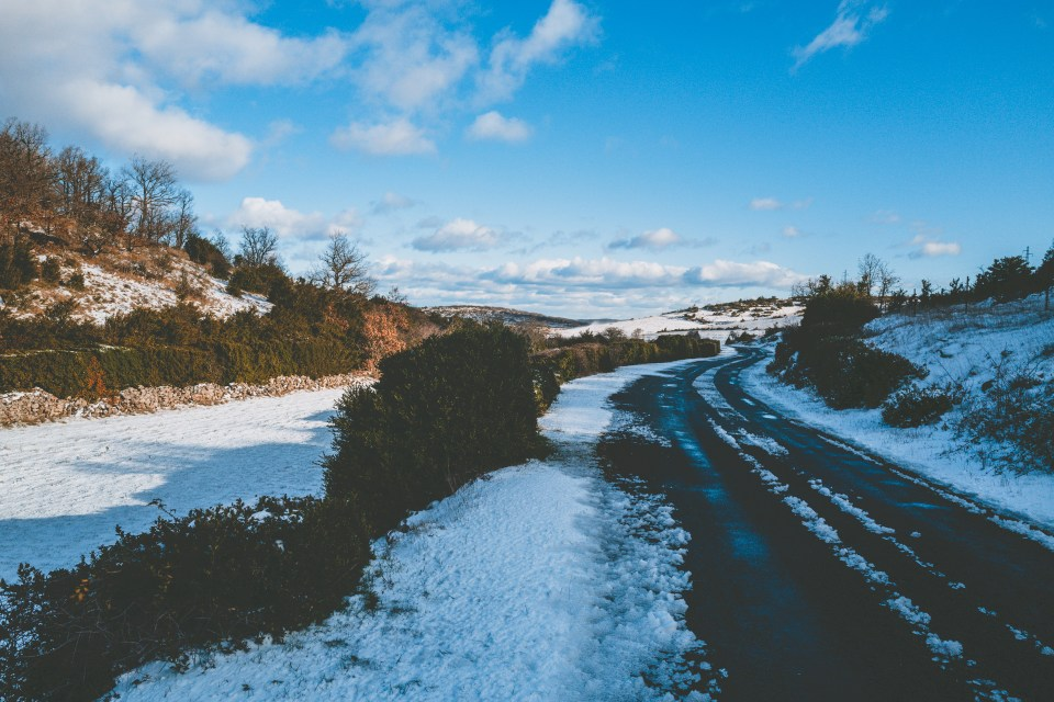 route neige Causse roadtrip