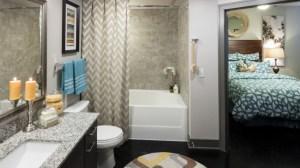 Bathroom Bedroom at Avant Apartments in Uptown Dallas TX Lux Locators Dallas Apartment Locators