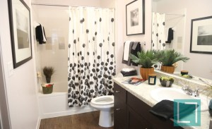 Bathroom at Gallery at Turtle Creek Apartments in Uptown Dallas TX Lux Locators Dallas Apartment Locators
