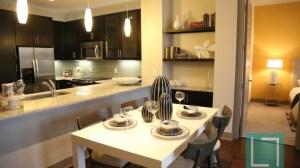 Dining Room Kitchen at L2 Uptown Apartments in Uptown Dallas TX Lux Locators Dallas Apartment Locators