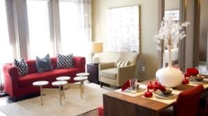 Dining Room Living Room at Alara Uptown Apartments in Uptown Dallas TX Lux Locators Dallas Apartment Locators