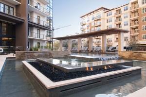 Fire Pit Fountain at The Taylor Apartments in Uptown Dallas TX Lux Locators Dallas Apartment Locators