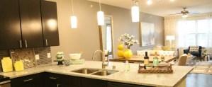 Kitchen Bar at Moda Victory Park Apartments in Uptown Dallas TX Lux Locators Dallas Apartment Locators