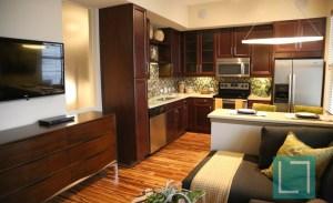 Kitchen Living Room at Gables Uptown Trail Apartments in Dallas TX Lux Locators Dallas Apartment Locators