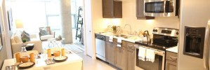 Kitchen Living Room at Gallery at Turtle Creek Apartments in Uptown Dallas TX Lux Locators Dallas Apartment Locators